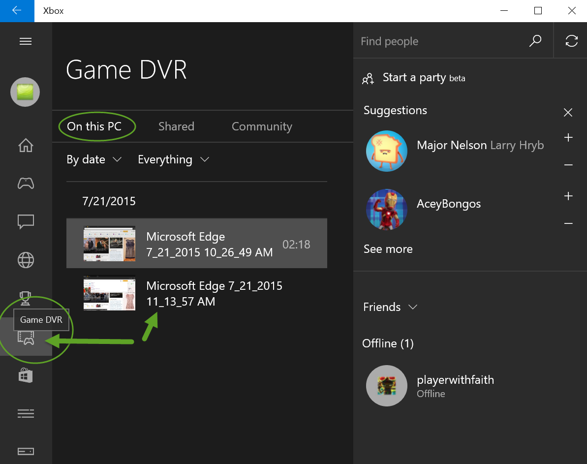 Use Xbox app for Screen Recording in Windows 10